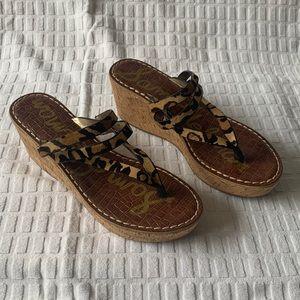 Sam Edelman Leopard Cork Wedge Sandal